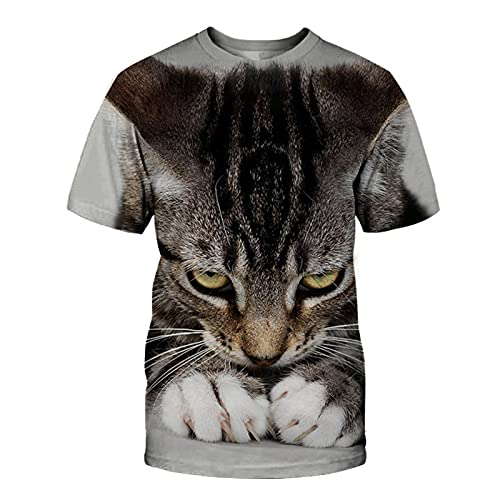 XDJSD Camiseta para Hombre Camiseta Corta De Manga Corta Camiseta De Gran Tamaño Camiseta con Cuello Redondo Camiseta para Hombre Camiseta Deportiva Camiseta con Estampado De Gato Camiseta De Manga