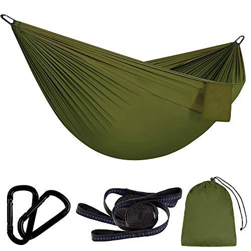 Vegena Hamaca para Acampar 300 x 200 cm, Hamaca Doble Ultraligera para Viaje y Camping, Transpirable, Nylon de Paracaídas de Secado Rápido, con 2 x Mosquetones, 2 x Correas de Nylon