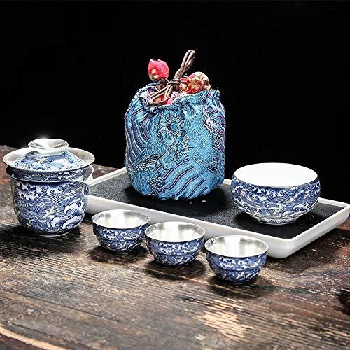 LWSJP Tetera Hecha a Mano S999 Sterling Silver Copa de invitado rápido One Pot Three Cops Office Ceramics Simple Portable Tree Tea Set