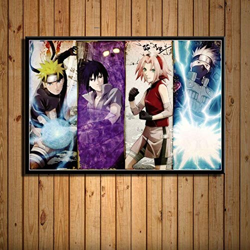 DIY Painting by numbers Naruto Shippuden Classic Japanese Anime Fighting Art Painting Northern Europe digital painting oil painting With brush and acrylic paint painting by nu40x60cm(No frame)