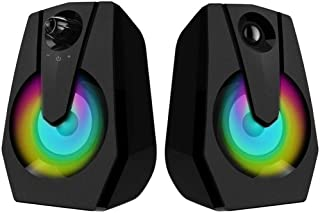 Fitfirst Altavoces para Computadora, Altavoces de Barra de Sonido Multimedia con Cable USB 4Wx2 con Bajo Estéreo Mejorado Luz LED Colorida para Computadora Portátil PC de Escritorio