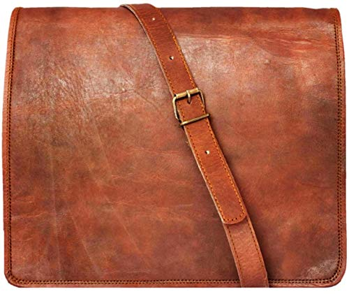 15' leather messenger bag laptop case office briefcase gift for men computer distressed shoulder bag