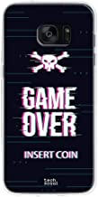 Funnytech® Funda Silicona para Samsung Galaxy S7 Edge [Gel Silicona Flexible, Diseño Exclusivo] Game Over Insert Coin Fondo Negro