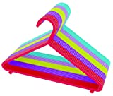 Ossian Colourful Kids Hangers – Plastic Children's Clothes Hangers in Assorted Colours with Trouser Bar and Strap Hooks – Safe Strong Flexible for Baby Toddler Child Cupboard Wardrobe Rail (24)
