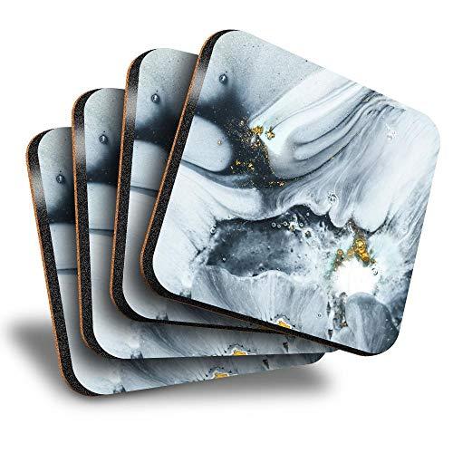 Destination Vinyl ltd Great Posavasos (juego de 4) cuadrados, diseño de remolinos de mármol, para cualquier tipo de mesa #21719