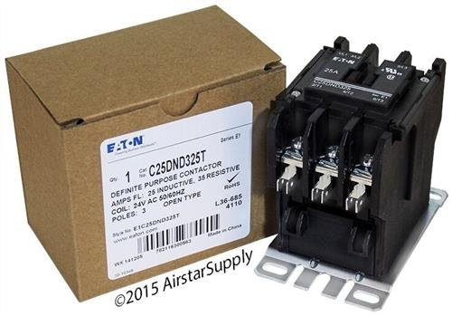 Replacement for GE CR453AB3HAA - Replaced by Eaton/Cutler Hammer C25DND325T 50mm DP Contactor, 3-Pole, 25 Amp, 24 VAC Coil Voltage