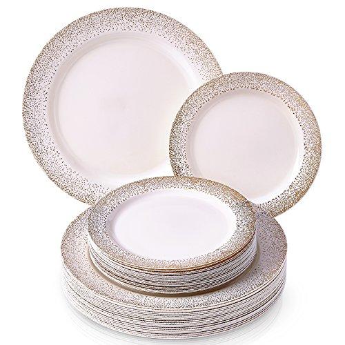 VAJILLA PARA FIESTAS DESECHABLE DE 40 PIEZAS | 20 platos grandes | 20 platos para ensalada/postre | Platos de plástico resistente | Para bodas y comidas de lujo (Ocean Mist Collection – Marfil/Oro)
