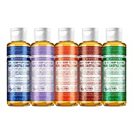 Dr. Bronner's - Pure-Castile Liquid Soap (4 Ounce Variety Pack) Peppermint, Lavender, Tea Tree, Eucalyptus, Almond - Made with Organic Oils, 18-in-1 Uses: Face, Body, Hair, Laundry, Pets and Dishes