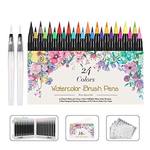 WOTEK Pinselstifte Set Brush Pen 48er,Aquarellstifte 24 Fabren+ 2 Einem Befüllbaren Wassertankpinsel,handlettering stifte mit flexiblen Nylonspitzen für Malerei und Kalligraphie