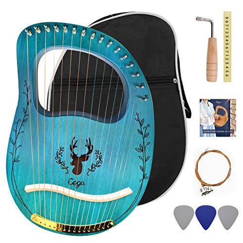 Lyre Harp 16 Strings, Solid Mahogany Wooden Body Metal Strings Musical Instrument for Adult/Kids, Accessory with Tuning Wrench and Durable Gig Bag