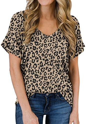 PrinStory Women s Casual Tops Short Sleeve V Neck Shirts Leopard Print Loose Blouse Basic Tee product image