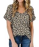 PrinStory Women's Casual Tops Short Sleeve V-Neck Shirts Leopard Print Loose Blouse Basic Tee T-Shirt Panther-Khaki US Large