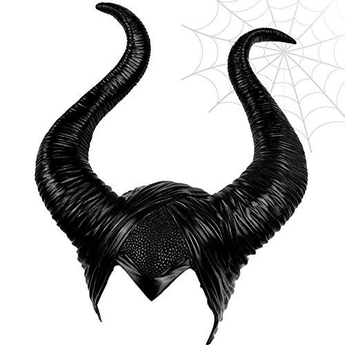 Willtone Nero Demone Corna Stile Lungo Uomini e Donne Halloween Costume Cosplay Decorazione