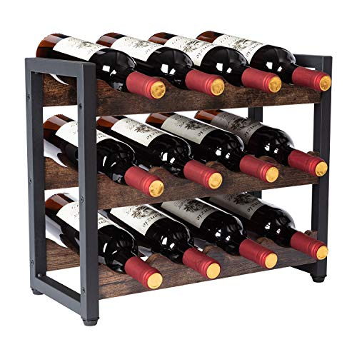 Botellero para 12 Botellas Estantería de Botellas de Vino Armario botellero de Vino