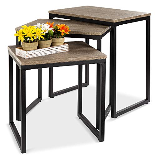Best Choice Products 3-Piece Modern Stackable Nesting Coffee Accent End Table Furniture Set for Living Room, Office w/Water-Resistant Tabletop, Lightweight Design - Brown