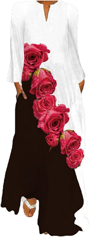 Womens Dresses Retro Style Flower Print Sundress V Neck Boho Dress Long Sleeve Party Ball Gowns Casual Maxi Long Skirt