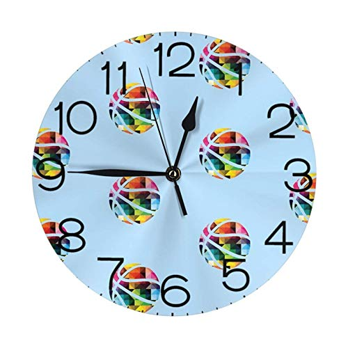 Reloj de pared redondo de baloncesto grande decorativo de pared, estilo numeral redondo, decoración del hogar, ideal para sala de estar (25 cm)
