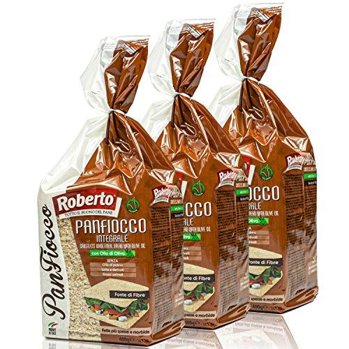 Roberto - 3er Pack Original italienisches Tramezzini Brot mit Olivenöl - Vollkornbrot Tramezzone (Toast ohne Rand, Rinde) in 400 g Packung
