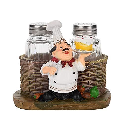 Nikou Pepper Ornament Fles - Chef Standbeeld Zout Peper Fles Houder Hars Ambachten Decoratieve Ornamenten Keuken Home Decor