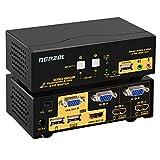 DEPZOL HDMI VGA KVM Switch Pantalla Dual 2 Puertos Pantalla extendida 4K @ 30Hz, Caja selectora de Mouse de Video con Teclado, Audio, USB 2.0HUB y Kits de Cables (922HV)