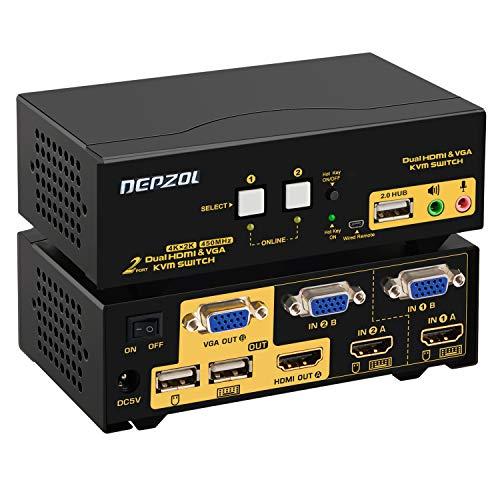 DEPZOL HDMI VGA KVM Switch Dual Monitor Extended Display 4K @ 30Hz mit Audio USB2.0 Hub und Kabel Kits, PC-Monitor Tastatur Maus-Auswahlbox (922HV)