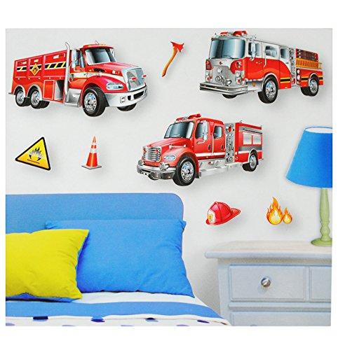 alles-meine.de GmbH 7 TLG. Set: XL 3-D ! Wandsticker / Fensterbild / Sticker - Feuerwehr - wasserfest beschichtet - selbstklebend Pop-Up Aufkleber Wandtattoo - Feuerwehrauto - z...