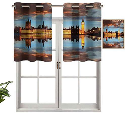 Hiiiman Cortinas cortas opacas con ojales, esplendente escena del Big Ben Westminster Nublado Night Thames River, juego de 2, cenefas pequeñas de media ventana de 137 x 91 cm para cocina