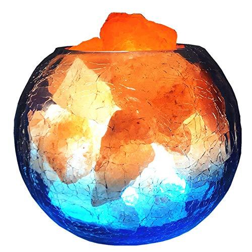 Lámpara De Sal De Cristal Del Himalaya Natural Puro, Control Remoto USB, Luz De Decoración De Dormitorio De 16 Colores, Mesita De Noche, Luz De Noche, Lámpara De Sal De Roca (Color:Botón de encendido)