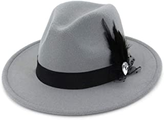 XinLin Du Men Women Wool Fedora Hat With Feather Wide Brim Hat Adult Hat Elegant Lady Fascinator Party Hat