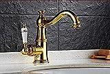 Grifos de lavabo de lavabo Grifo de lavabo antiguo Latón macizo con grifo de baño de diamantes Grifo de lavabo de una manija Grifo de agua Grifo