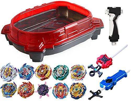 GiGimelon Complete Set Beystadium + 10 Battling Tops + Stickers + Launchers, Burst Gyros Battle Set, Kids Boys Birthday Party Gift Idea