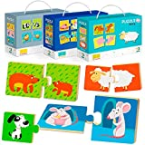 Toddler Puzzles for Kids Ages 1 2 3 with Self-Correcting Wild Farm Animal Jigsaw Matching Game for Learning Counting and Building Logic; Toddlers Easy Jigsaw Puzzle Toy Set of 3 for Baby Boy and Girl