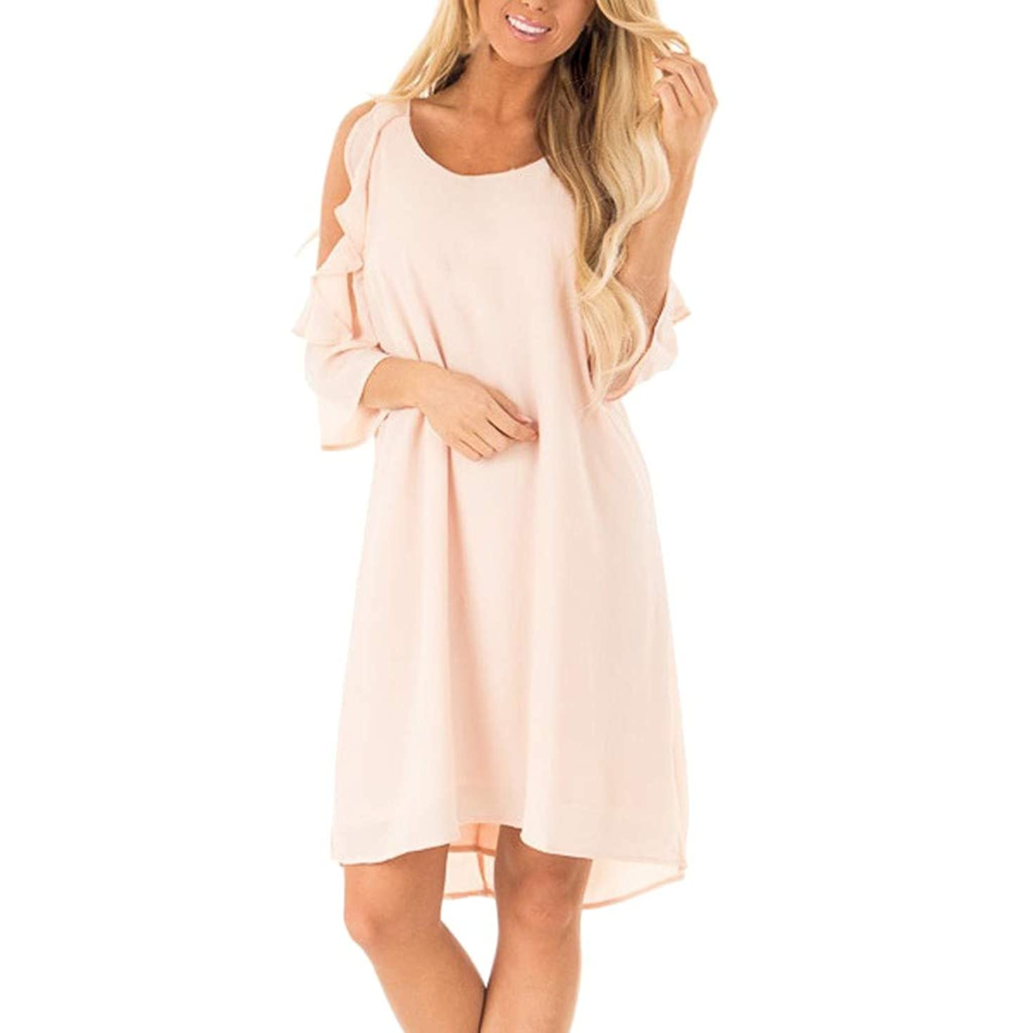 peacur Women Half Sleeve Dresses Fashion Cold Shoulder Ruffle Solid Casual Loose Mini Shirt Dress