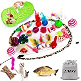 29 PCS Cat Toys Kitten Toys Assortments, Variety Catnip Toy Set Including 2 Way Tunnel,Cat Feather Teaser,Catnip Fish,Mice,Colorful Balls and Bells for Cat,Puppy,Kitty