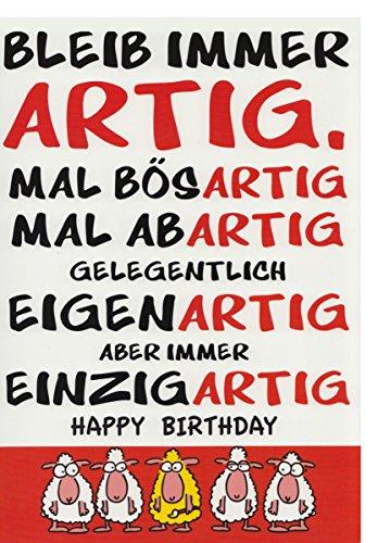 A4 XXL Geburtstagskarte mitSpruch: Bleib immer artig