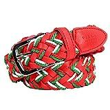 VIOLA rumore ヴィオラルモーレ ベルト メッシュ メンズ 編み込み フリーサイズ 編み込みベルト レッド赤グリーン緑 81350 F