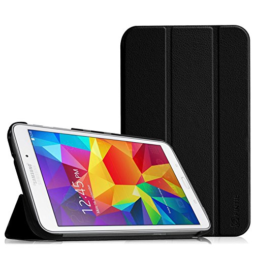 Fintie Hülle Case für Samsung Galaxy Tab 4 7.0 (7 Zoll) T230 T235 Tablet - Ultra Schlank Schutzhülle Superleicht Ständer SlimShell Tasche Etui Cover, Schwarz