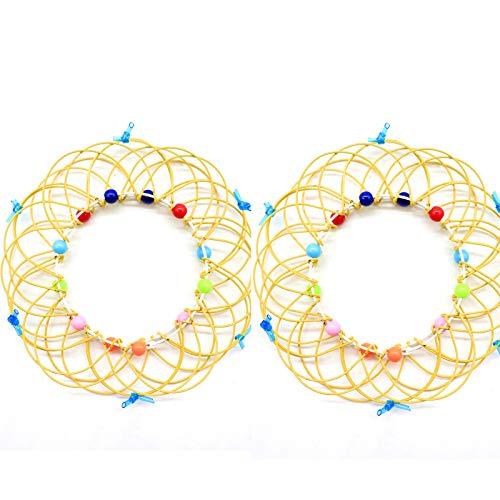 Mandala Flower Magic Rings Toy, 2pcs Flow RingKids Magic Loops Toys, Transformando 36 formas, Juguete de alambre hecho a mano, para niños, adolescentes, Adultos, Magic Loops para (amarillo)