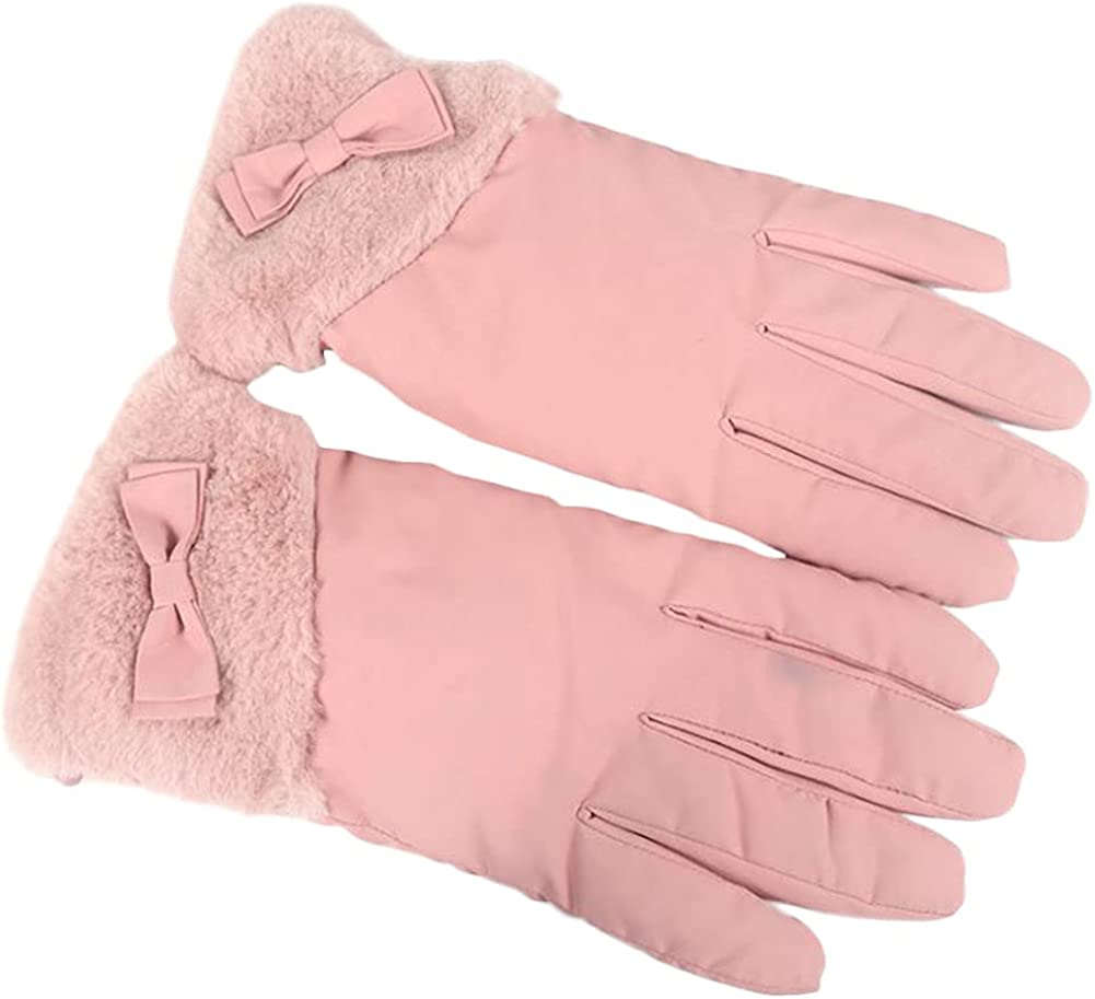 Winter Gloves For Women Fluffy Waterproof Windproof Warm Insulate Mitten Cute Bowknot Fleece Lining Cold Weather