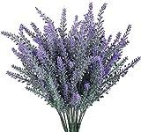 MUCHENG 10 Bundles Artificial Lavender Flowers Bouquet Plastic Purple Fake Lavender Plant for Wedding Home Decor Office Garden Patio Decoration