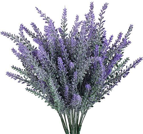 MUCHENG 10 paquetes de flores artificiales de lavanda de plástico morado para bodas, decoración del hogar, oficina…