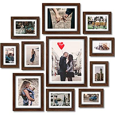 Homemaxs Picture Frame Collage Set - 11 Pack Rustic Wooden Photo Frame Wall Gallery Kit for Tabletop or Home Decor With Mat, Four 4x6 in, Four 5x7 in, Two 8x10in, One 11x14in-Rustic Brown