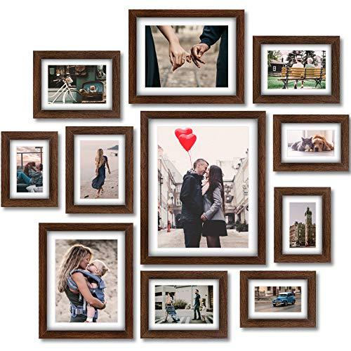Homemaxs 12er Rustikaler Bilderrahmen Set - Holz Fotorahmen Galerie Wandrahmen Set für Tischplatte oder Wohnkultur mit Matte - 4 STK 10 x15cm| 4 STK 13 x 18cm| 2 STK 15 * 20cm| 1 STK 28 * 35cm