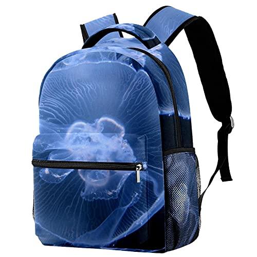 バックパックブックバッグデイパックスクールバッグハイキングカジュアルラップトップバックパック大容量と屋外学ぶシーフオーシャンクラゲ 女性と男性のために