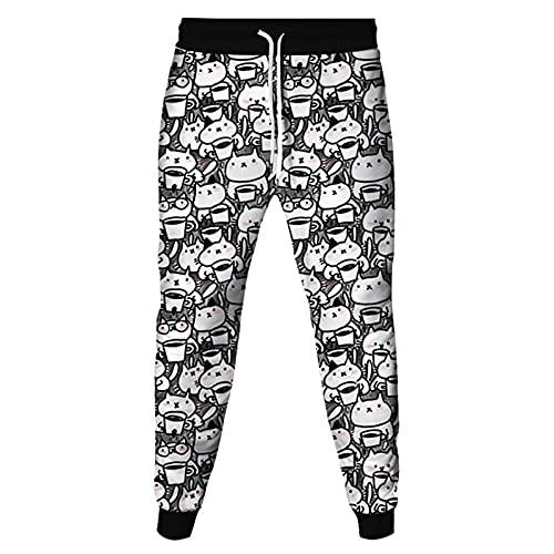 KJCWQ Pantalones de chándal con Estampado 3D Pantalones Divertidos para Hombres Harajuku Hombres/Mujeres Streetwear Pantalones para Hombre-Cat_2_M