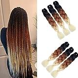 6 Packs Ombre Flechten Haarverlängerungen (Black-Brown-Blonde) Kunsthaar Heat Resistant Braiding Haar for Crochet Box Zöpfe 100 g/pcs 24 inch (60 cm)