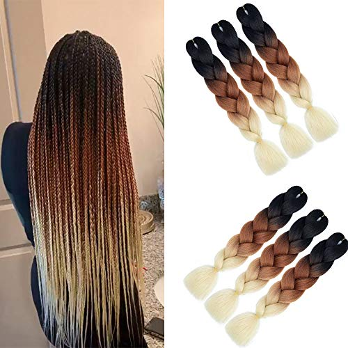 6 Packs Ombre Flechten Haarverlängerungen (Black-Brown-Blonde) Kunsthaar Heat Resistant Braiding Haar for Crochet Box Zöpfe 100 g/pcs 24 inch (60 cm)