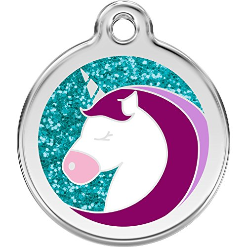 Red Dingo Personalized Glitter Unicorn Pet ID Dog Tag (Small)