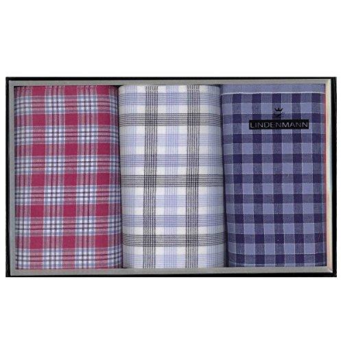 Lindenmann Handkerchiefs for men, 3-pack, red-grey-blue, 50022-001