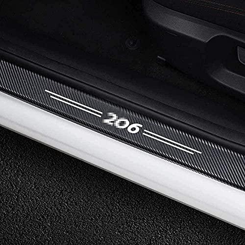 4 Piezas DecoracióN Para Estribos Pegatinas Pedal ProteccióN para Peugeot 206 Accesorios Protector Umbral Puerta Coche Antideslizante AntiarañAzos